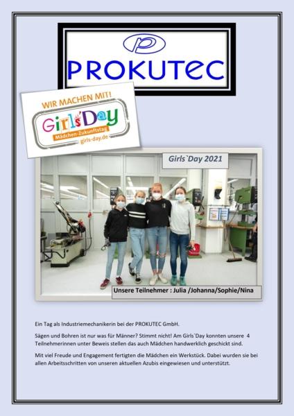 Foto und Kurzbericht zum Girls'Day bei Prokutec