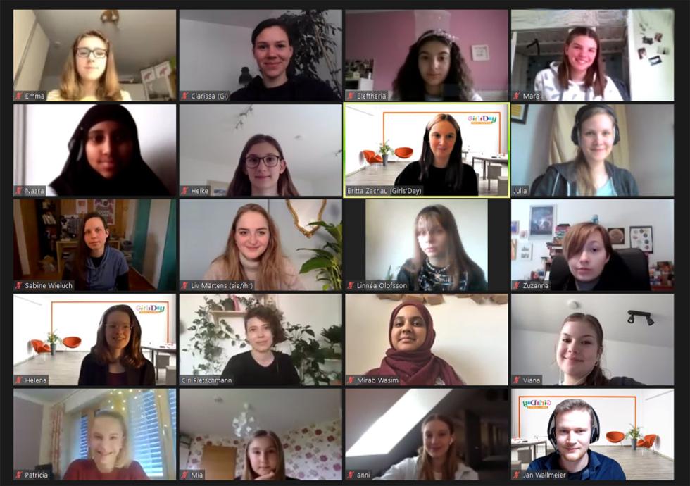 Screenshot der Videokonferenz des Workshop Girls'Day und GI