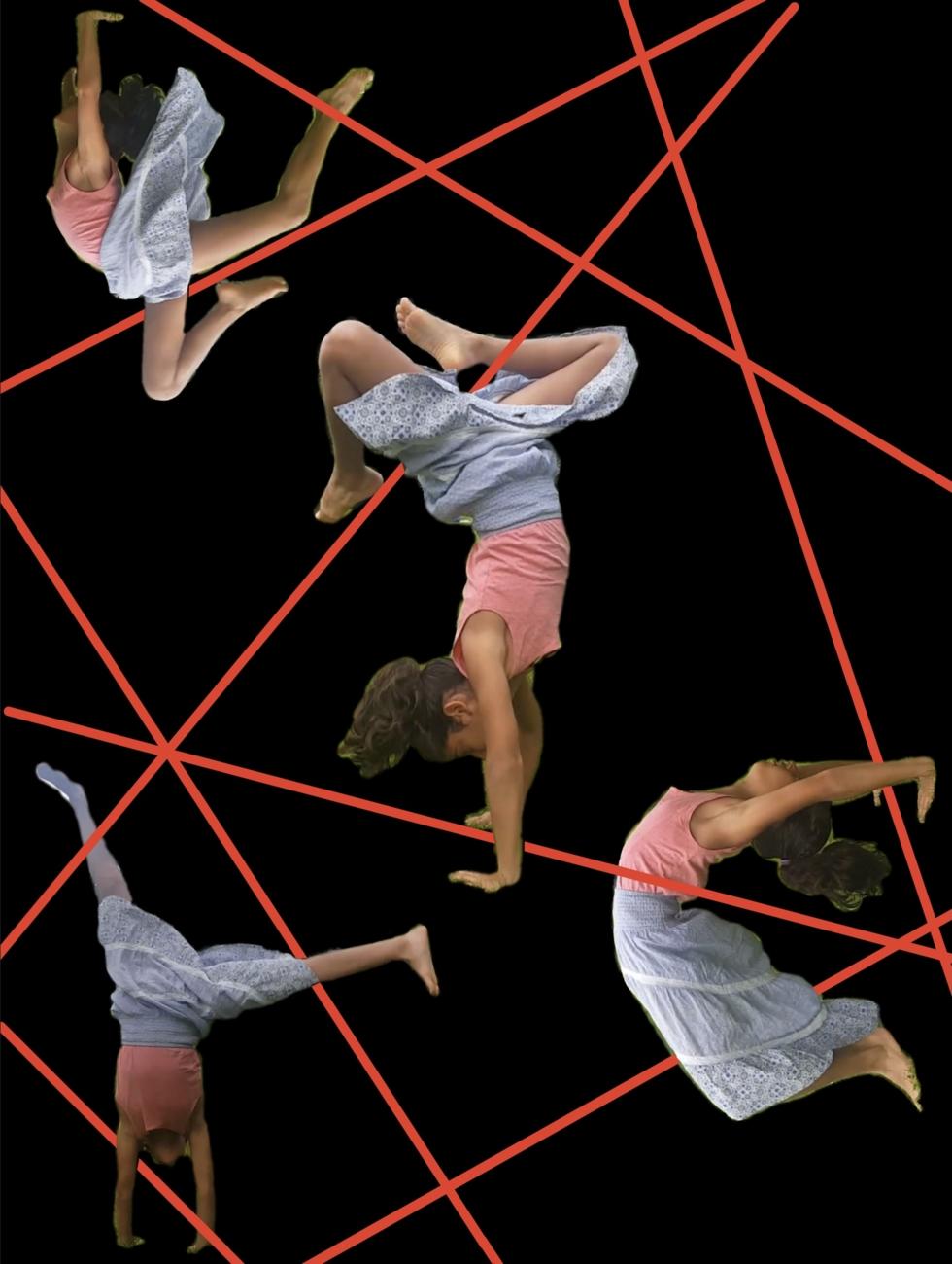 Mädchen macht verschiedene akrobatische Übungen