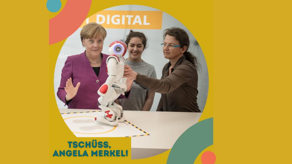 Angela Merkel mit Roboter